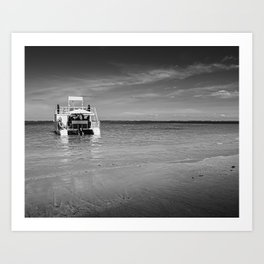 Catamaran boat at beach coast Art Print