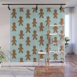 Gingerbread man cute cookies pattern gifts seasonal winter baking tradition mint Wall Mural