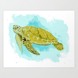 Sea Turtle in Watercolor Art Print