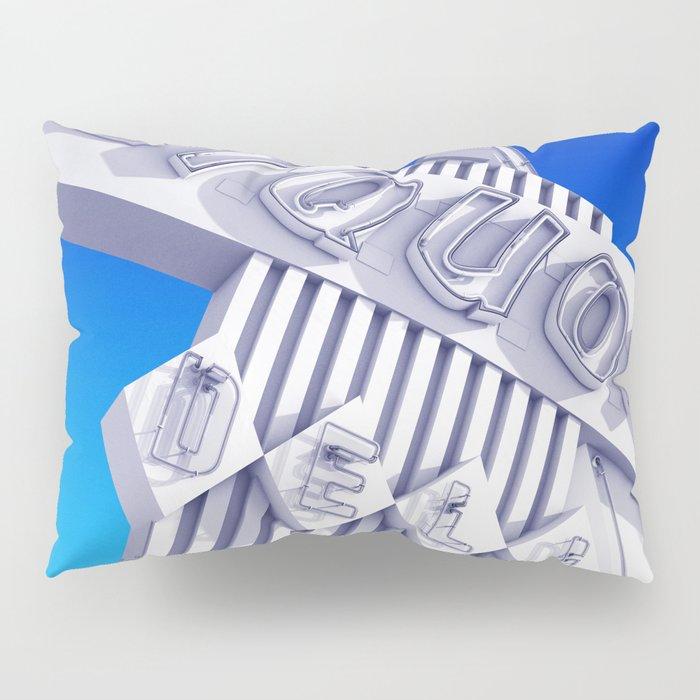 Liquor Deli Vintage Retro Neon Sign Blue Pillow Sham