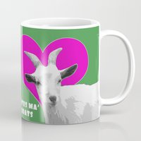 totes Mugs featuring Totes Ma Goats Pink by BACK to THE ROOTS