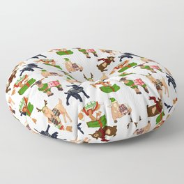 Christmas goats in sweaters repeating seamless pattern Floor Pillow