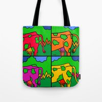 cows Tote Bags featuring Cows by Stefan Stettner
