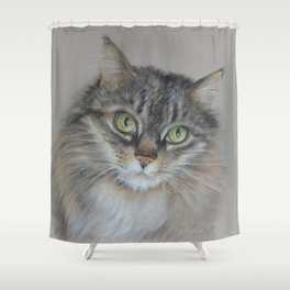 Tabby cat Maine Coon portrait Pastel drawing on the grey background Shower Curtain