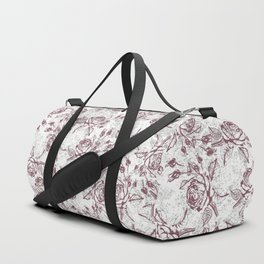 Vintage white gray burgundy floral marble Duffle Bag