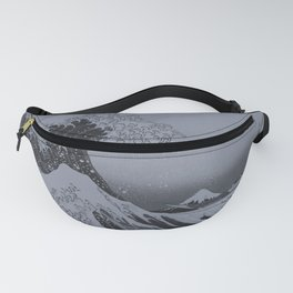 Silver Japanese Great Wave off Kanagawa by Hokusai Fanny Pack