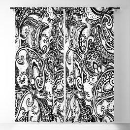 paisley batik black Blackout Curtain