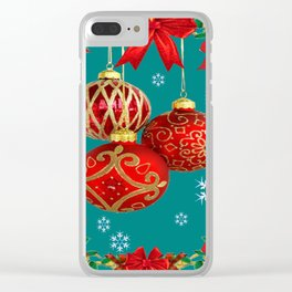 TEAL COLOR RED CHRISTMAS  ORNAMENTS &  POINSETTIAS FLOWER Clear iPhone Case