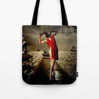 siren Tote Bags featuring Siren by Galen Valle