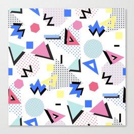 Memphis Style 80s Nostalgia design - White Background Canvas Print