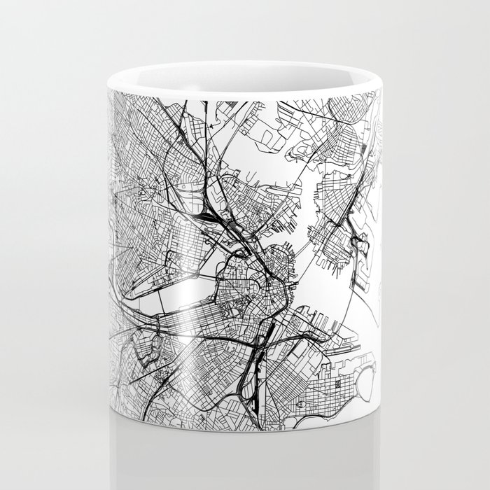 Boston White Map Kaffeebecher