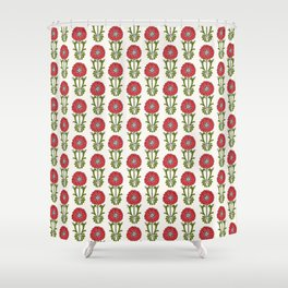Dot Floral in Red Shower Curtain