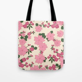 Flowers, Petals, Leaves, Blossoms - Pink Green Tote Bag