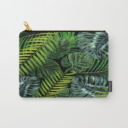 Jungle Tangle Green On Black Carry-All Pouch