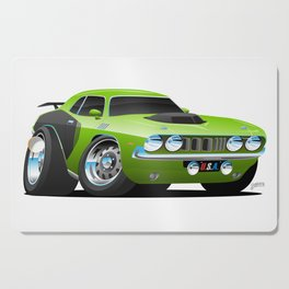 Classic Seventies Style American Muscle Car Cartoon Cutting Board