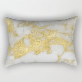 Marble - Yellow Gold Marble Foil on White Pattern Rectangular Pillow
