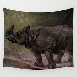Vintage Rhinoceros Painting (1909) Wall Tapestry
