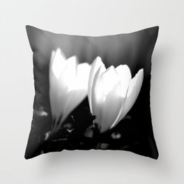 You Two - Crocus Flowers Black And White Throw Pillow