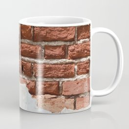 Broken Bricks Wall White and red Coffee Mug