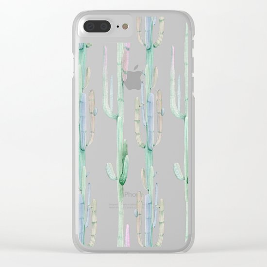 Cactus Stack on Navy Clear iPhone Case