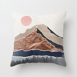 Mount Hood // Daylight Art Print Oregon Stratovolcano Rose Gold Silver Blue Cream Black Mountain Throw Pillow