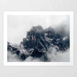 Mountais and fog Art Print