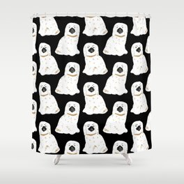 Staffordshire Dog Figurines No. 1 in Black Shower Curtain
