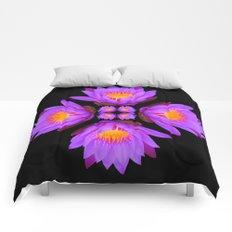 Purple Lily Flower - On Black Comforters