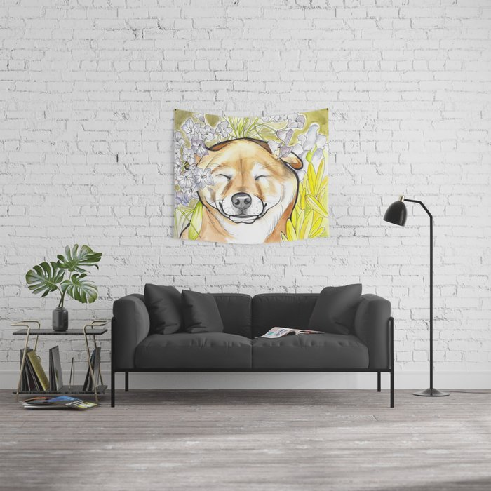 Jay Jay the happy Shiba Wall Tapestry