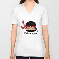 ninja V-neck T-shirts featuring Ninja by Ninbun