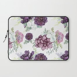 Succulents Deep Violet Lavender Pastel Green Lilac PatternSee Nature Magick for more pretty pastel c Laptop Sleeve