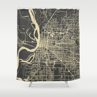 memphis Shower Curtains featuring Memphis map by Map Map Maps