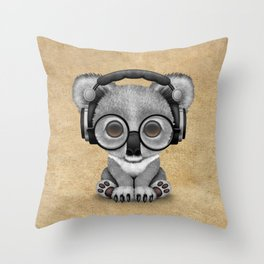 Cute Baby Koala Bear Dj Wearing Headphones Throw Pillow