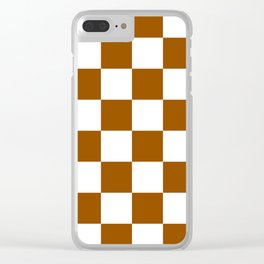 Large Checkered - White and Brown Clear iPhone Case