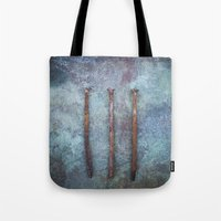 three of the possessed Tote Bags featuring Three by Maria Heyens