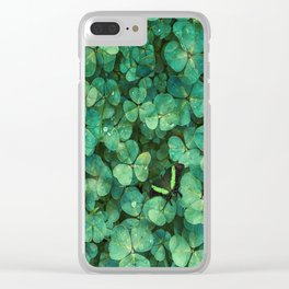 Lucky Green Clovers, St Patricks Day pattern Clear iPhone Case