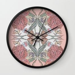 Australian Natives-Waratahs and gumnuts Wall Clock
