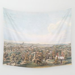Vintage Pictorial Map of Springfield MA (1851) Wall Tapestry