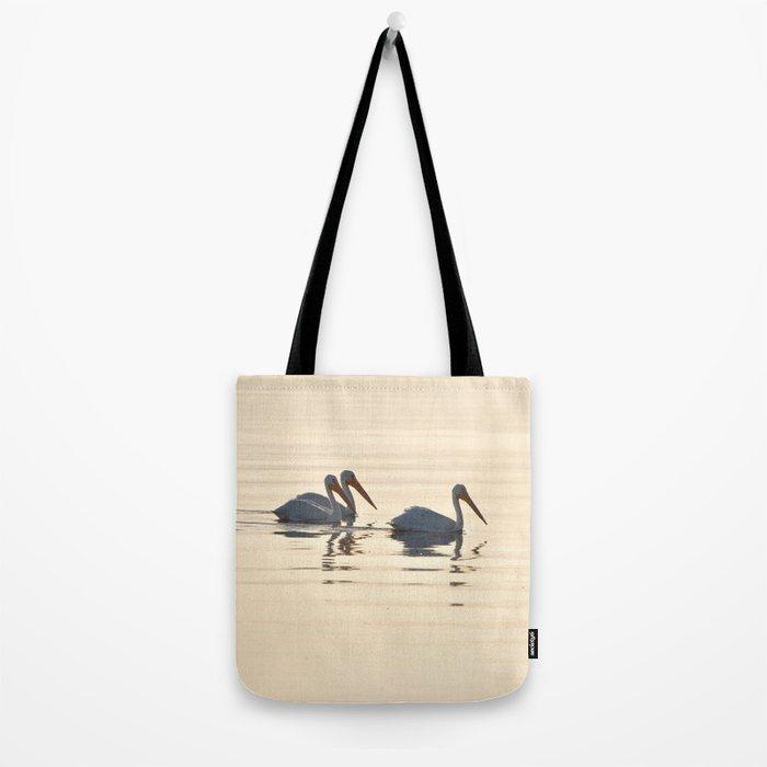 WHITE PELICANS ON THE SALTON SEA Tote Bag