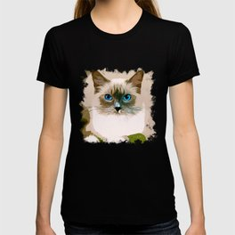 blue eyes ragdoll cat vector art T-shirt