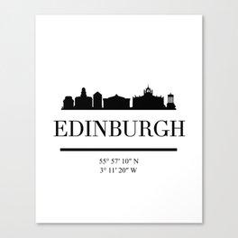 EDINBURGH SCOTLAND BLACK SILHOUETTE SKYLINE ART Canvas Print