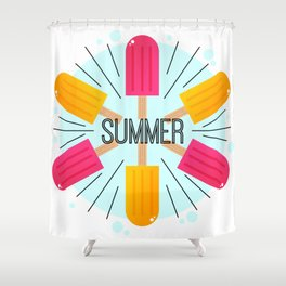 Summer Time with Popsicle Illustration Shower Curtain
