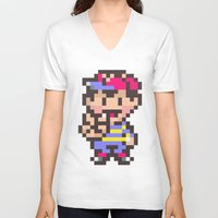 earthbound V-neck T-shirts featuring Ness (Peace) - Earthbound / Mother 2 by Studio Momo╰༼ ಠ益ಠ ༽