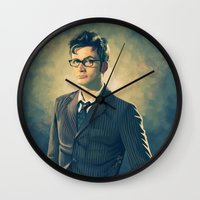 david tennant Wall Clocks featuring David Tennant - Doctor Who 2 by KanaHyde