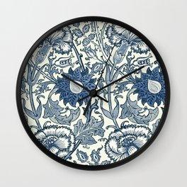 William Morris Navy Blue Botanical Pattern 5 Wall Clock