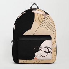 Young woman with glasses feels good and relaxed Backpack