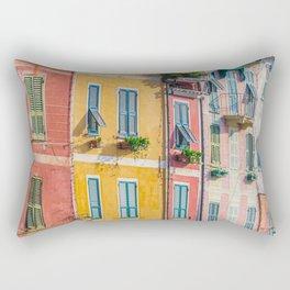 Architecture of Portofino, in the Metropolitan City of Genoa on the Italian Riviera in Liguria, Italy Rectangular Pillow