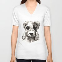 puppy V-neck T-shirts featuring Puppy  by Cedric S Touati
