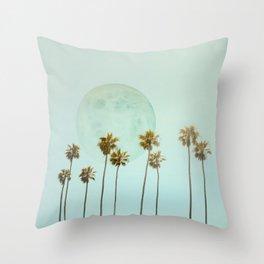Full Moon Paradiese Beach Palm Trees Throw Pillow