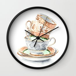 Stacked Teacups Gold Silver and Green Mismatched Wall Clock